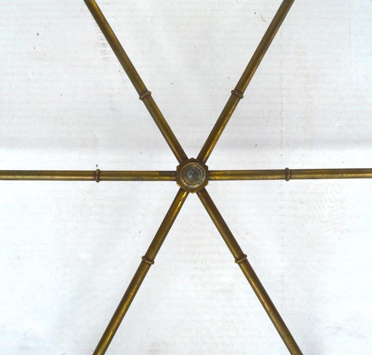 Pair of Hexagonal Brass and Glass Tables For Sale 1