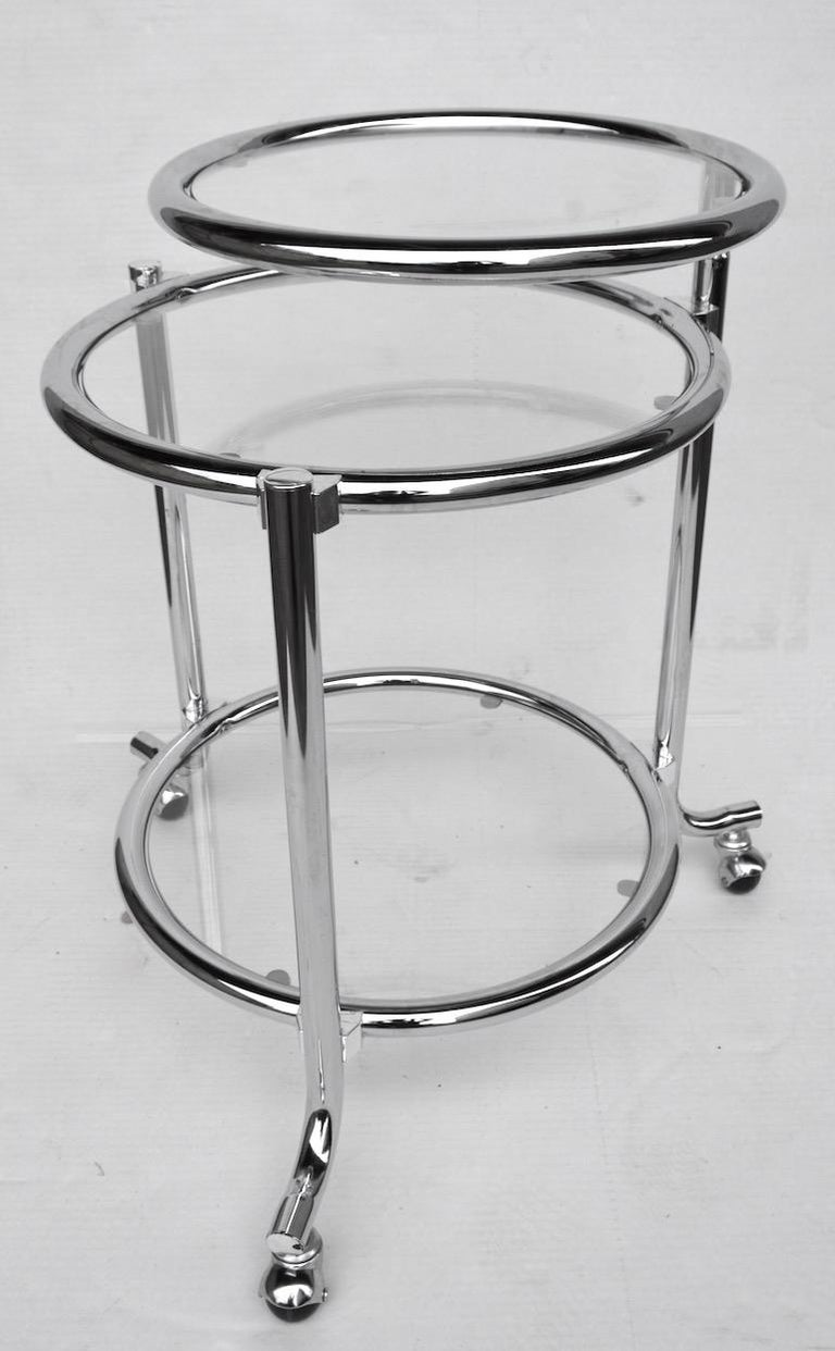 Mid-Century Modern Rolling Chrome Bar Serving Cart with Chrome Rings For Sale