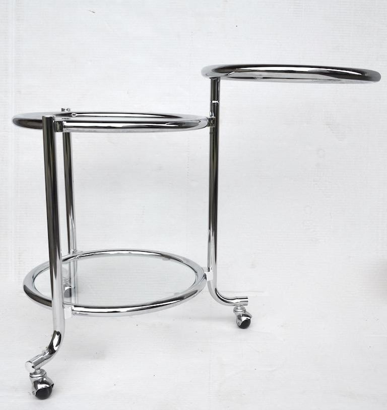 American Rolling Chrome Bar Serving Cart with Chrome Rings For Sale