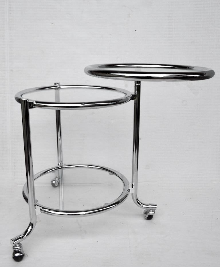 20th Century Rolling Chrome Bar Serving Cart with Chrome Rings For Sale