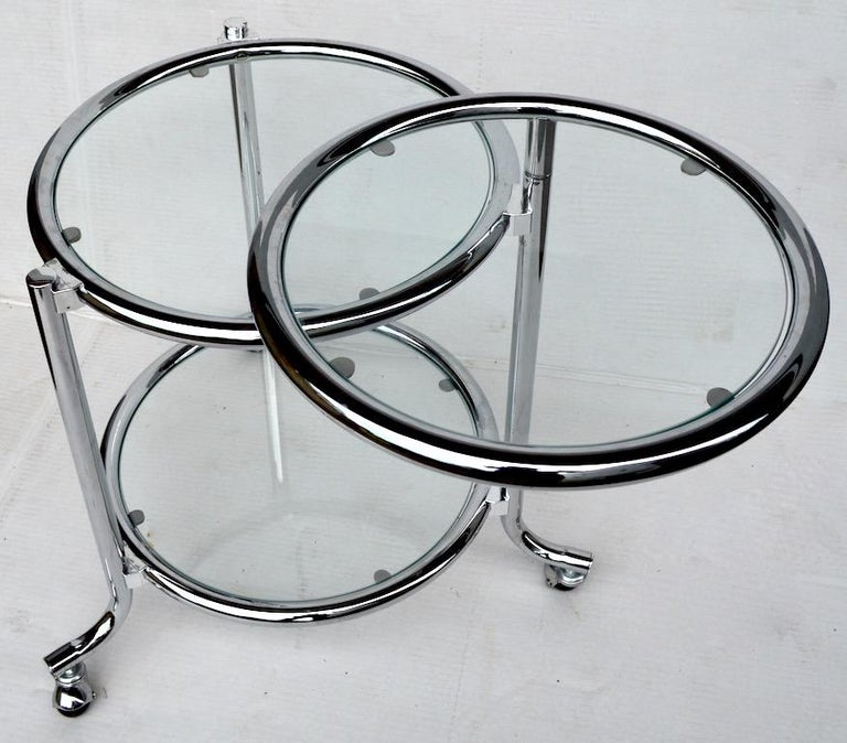 Rolling Chrome Bar Serving Cart with Chrome Rings For Sale 1