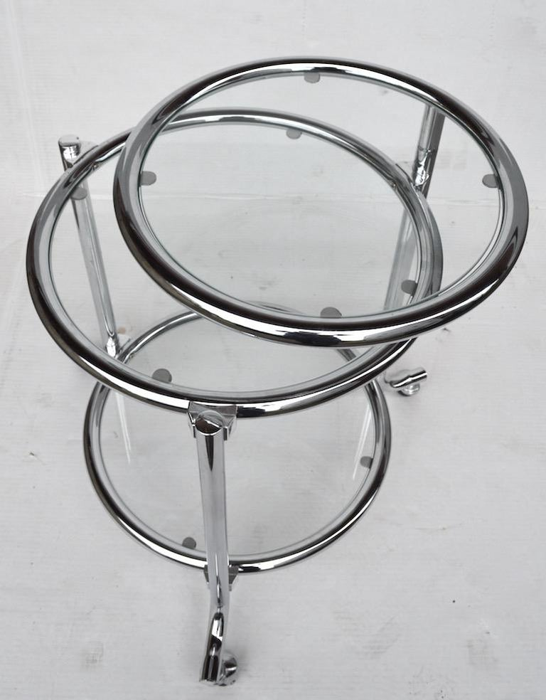Rolling Chrome Bar Serving Cart with Chrome Rings For Sale 2