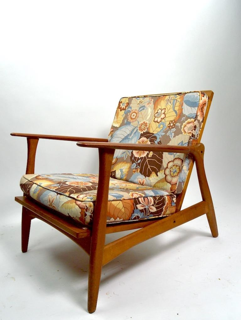 Rare pair of Danish modern arm, lounge chairs designed by Arne Hovmand Olsen for Mogens Kold. Selling and priced as a pair, in original estate condition. Both show cosmetic wear to finish, minor nicks and scuffs etc. chic, stylish and hard to find