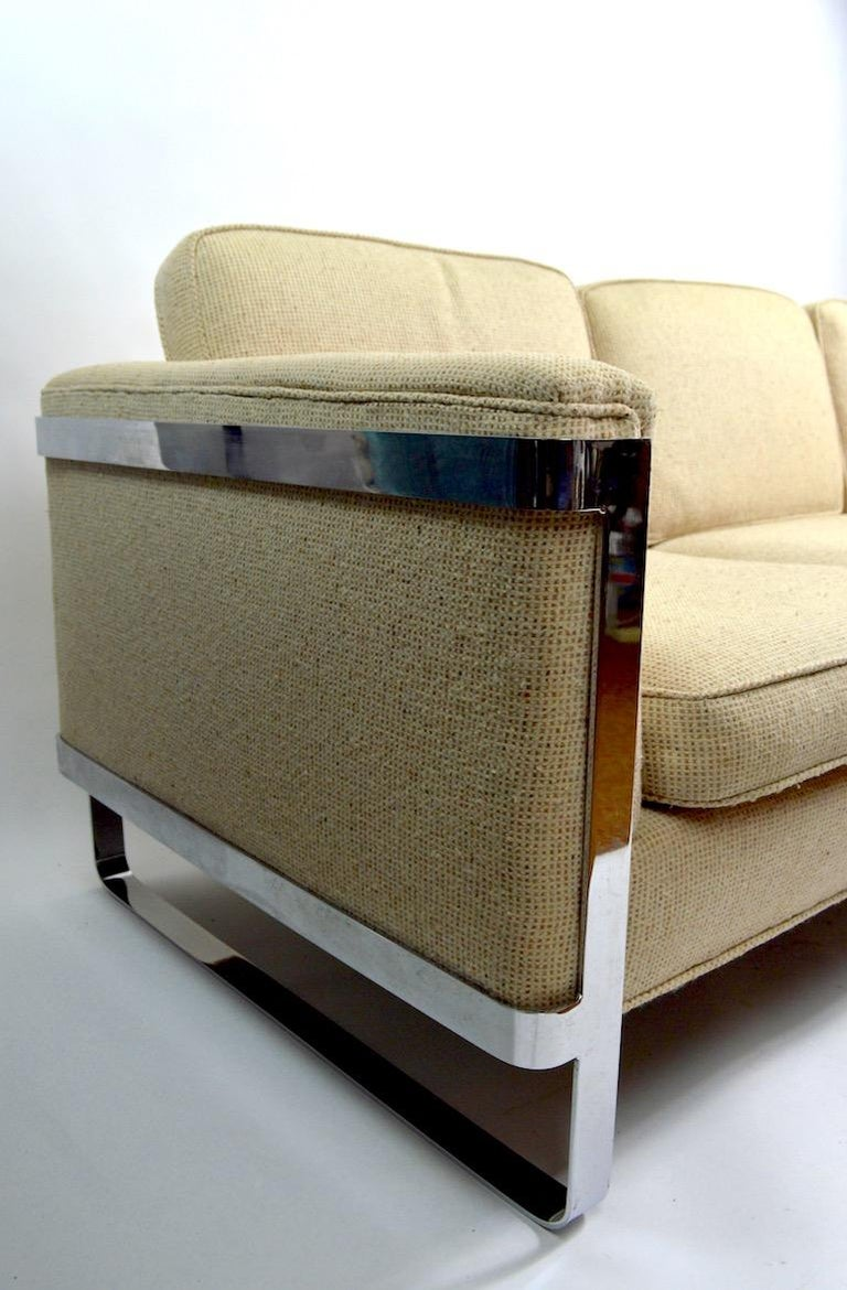 Mid-Century Modern Large Chrome Strap and Tweed Sofa Attributed to Baughman For Sale