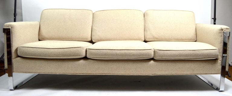 American Large Chrome Strap and Tweed Sofa Attributed to Baughman For Sale