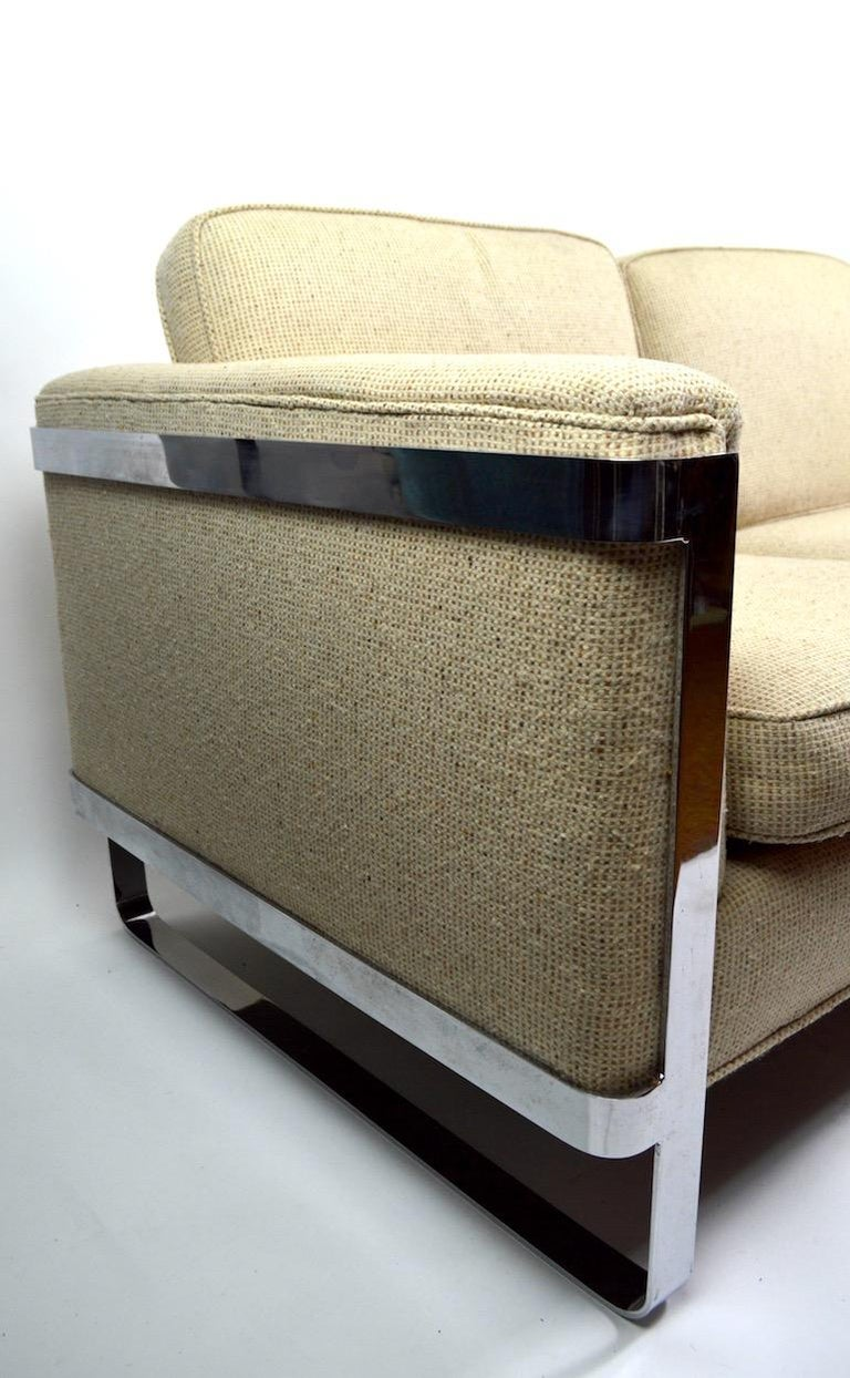 Large Chrome Strap and Tweed Sofa Attributed to Baughman In Good Condition For Sale In New York, NY