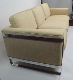 Large Chrome Strap and Tweed Sofa Attributed to Baughman
