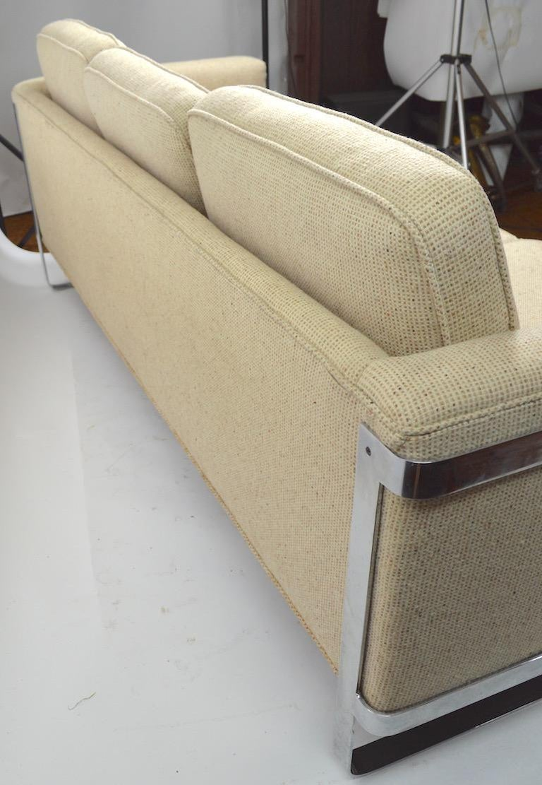 Upholstery Large Chrome Strap and Tweed Sofa Attributed to Baughman For Sale
