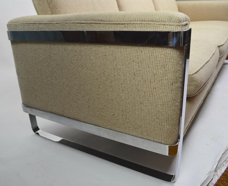 Large Chrome Strap and Tweed Sofa Attributed to Baughman For Sale 1