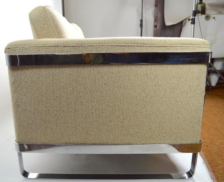 Large Chrome Strap and Tweed Sofa Attributed to Baughman For Sale 2