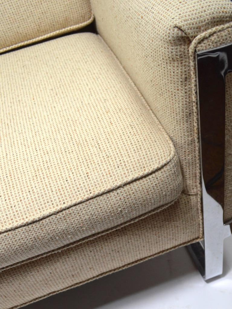 Large Chrome Strap and Tweed Sofa Attributed to Baughman For Sale 4