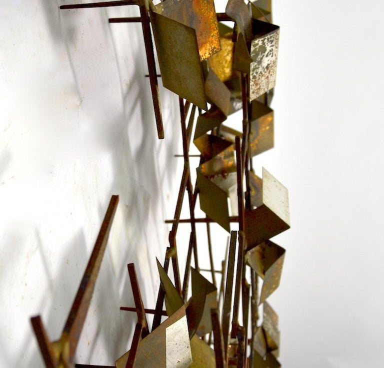 20th Century Brutalist Nail and Mixed Metal Wall Mount Sculpture Attributed to Marc Weinstein For Sale