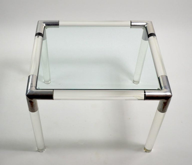 Mid-Century Modern Lucite Glass Table by Charles Hollis Jones For Sale