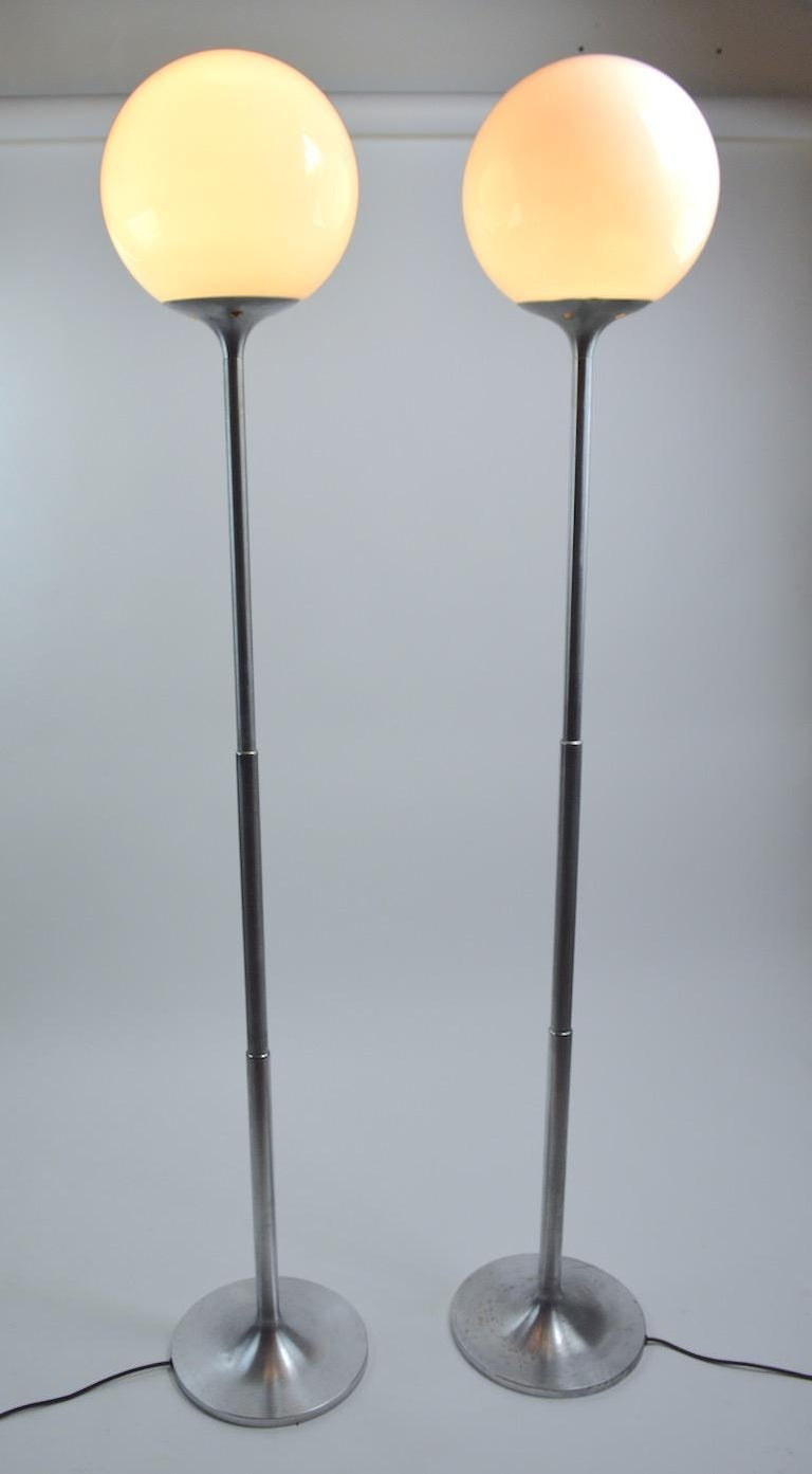 Pair of Adjustable Steel and Glass Floor Lamps Attributed to Kurt Versen For Sale 10