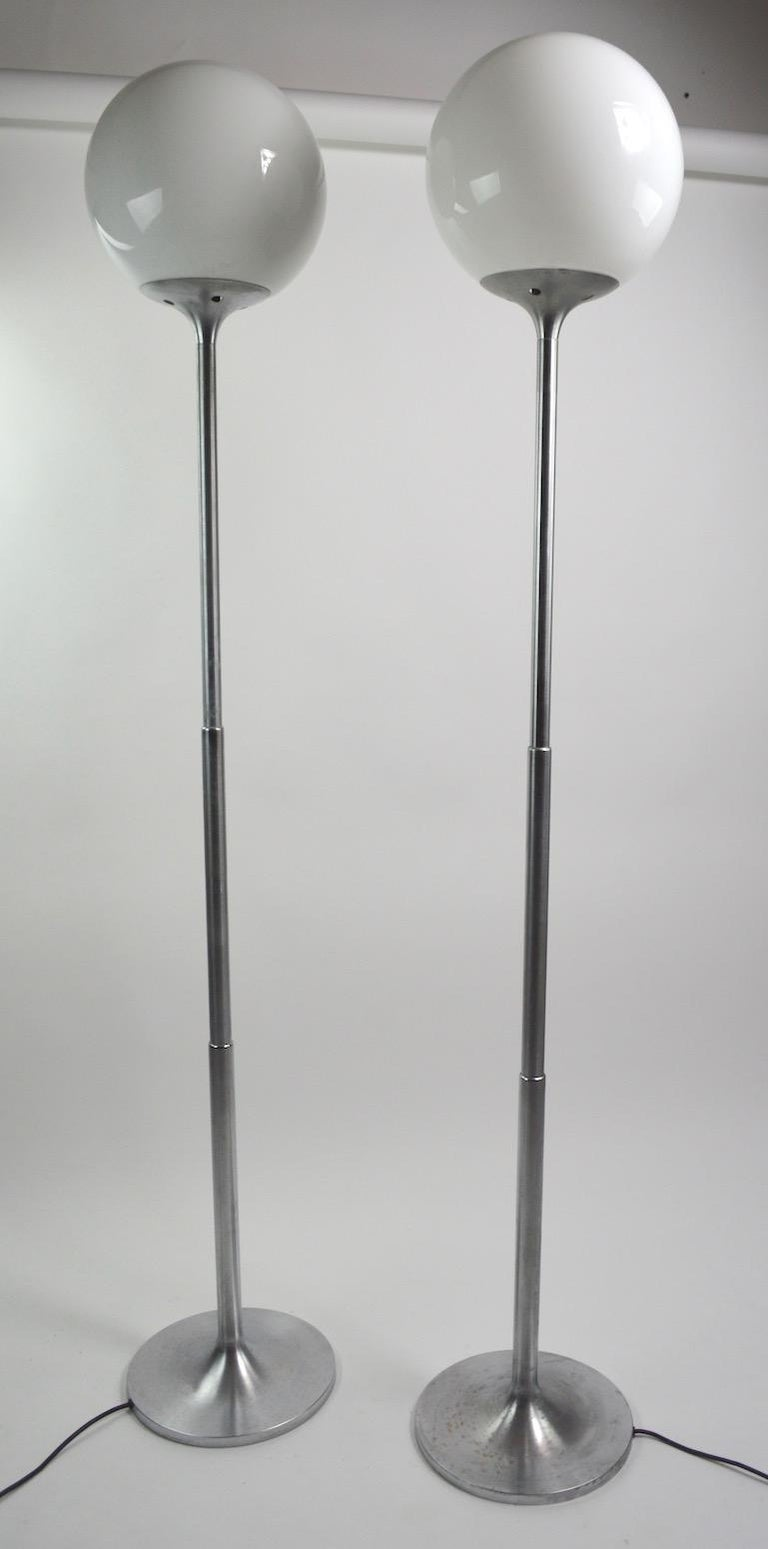 Pair of Adjustable Steel and Glass Floor Lamps Attributed to Kurt Versen For Sale 2
