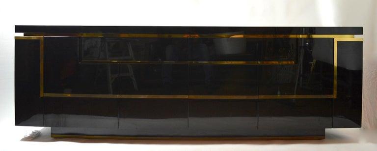 Roche Bobois Black Lacquer Sideboard Bar Credenza, Jean Claude Mahey For Sale 7