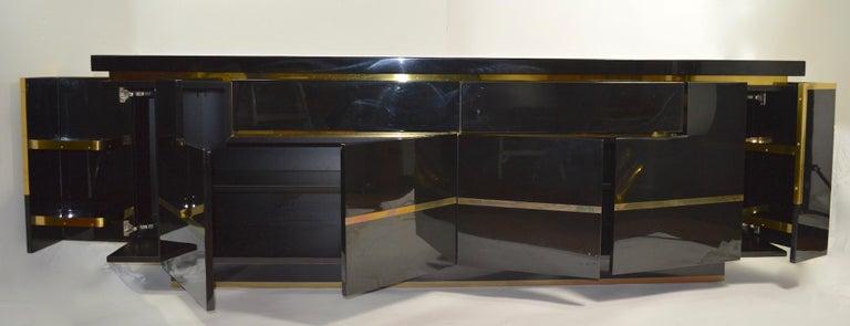 20th Century Roche Bobois Black Lacquer Sideboard Bar Credenza, Jean Claude Mahey For Sale