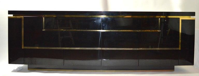 Roche Bobois Black Lacquer Sideboard Bar Credenza, Jean Claude Mahey For Sale 6