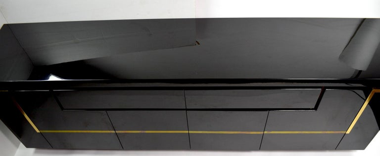 Lacquered Roche Bobois Black Lacquer Sideboard Bar Credenza, Jean Claude Mahey For Sale