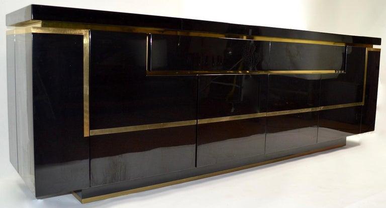 Roche Bobois Black Lacquer Sideboard Bar Credenza, Jean Claude Mahey For Sale 5