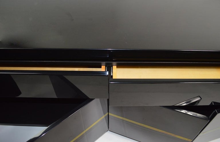 Brass Roche Bobois Black Lacquer Sideboard Bar Credenza, Jean Claude Mahey For Sale