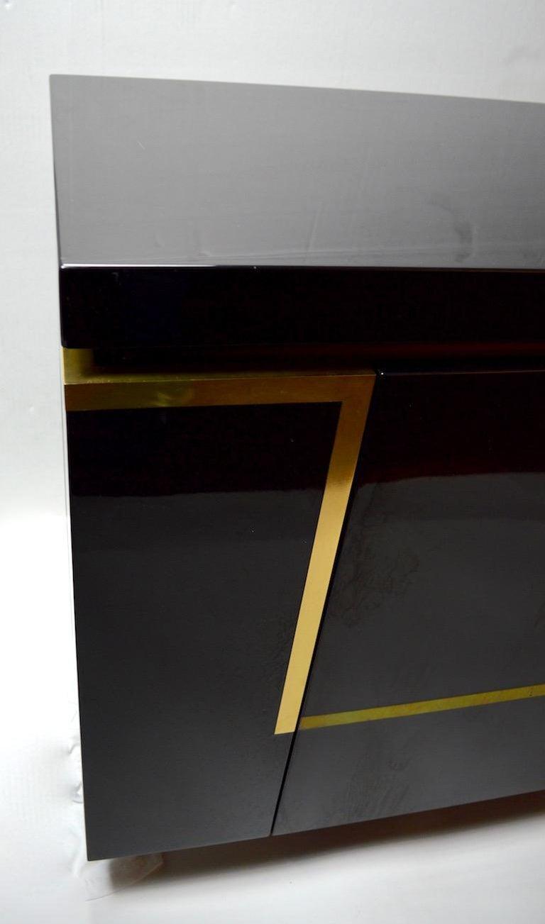 Roche Bobois Black Lacquer Sideboard Bar Credenza, Jean Claude Mahey For Sale 8