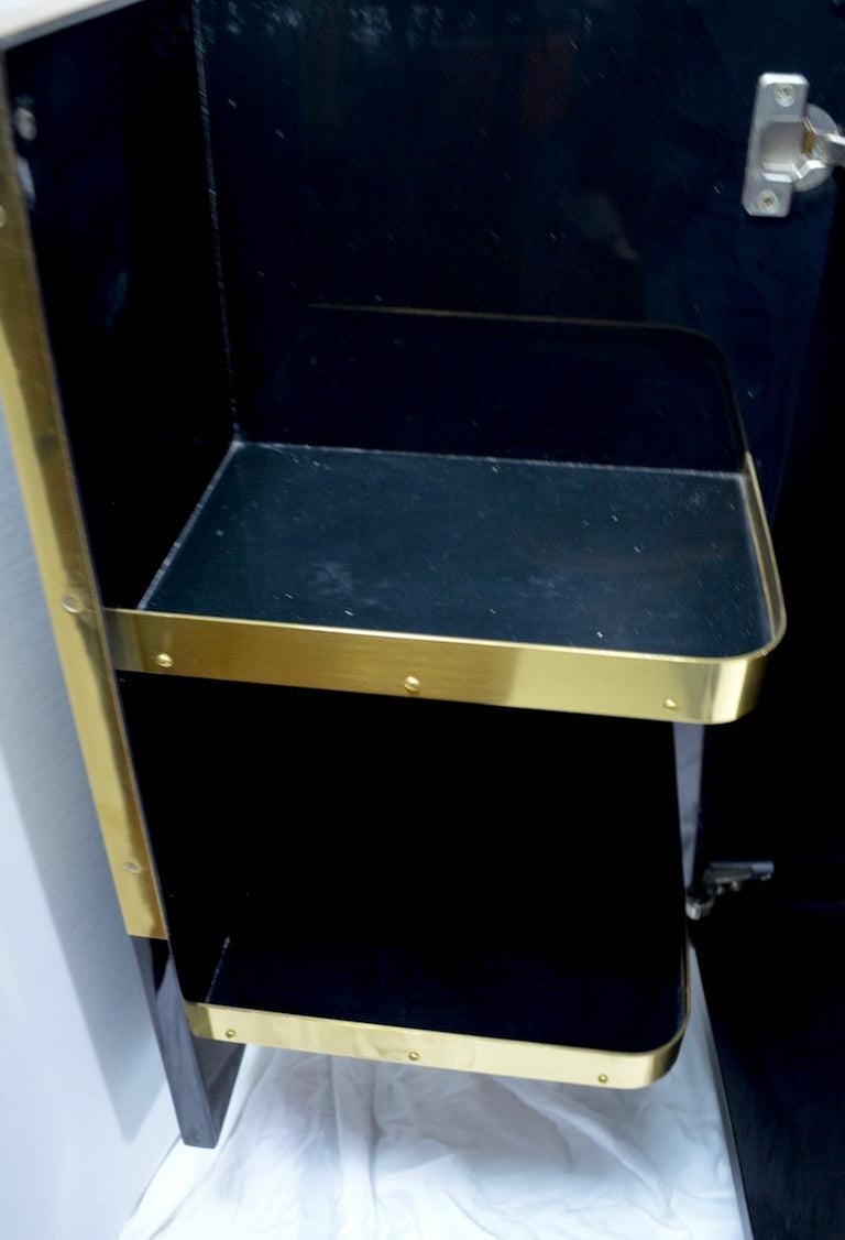 Roche Bobois Black Lacquer Sideboard Bar Credenza, Jean Claude Mahey For Sale 2
