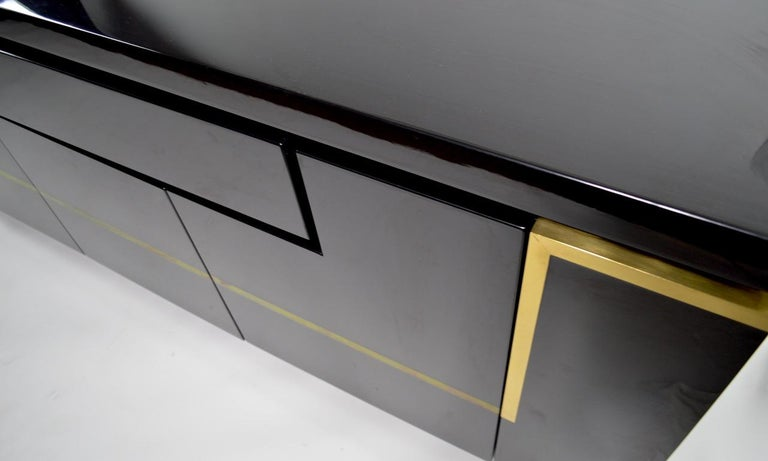 Roche Bobois Black Lacquer Sideboard Bar Credenza, Jean Claude Mahey For Sale 4