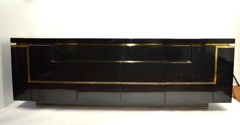 Hollywood Regency Roche Bobois Black Lacquer Sideboard Bar Credenza, Jean Claude Mahey For Sale
