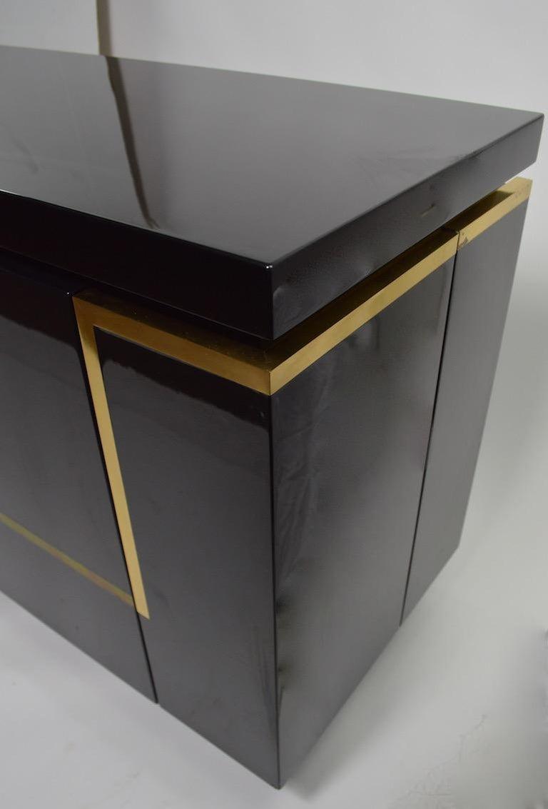 Roche Bobois Black Lacquer Sideboard Bar Credenza, Jean Claude Mahey For Sale 3