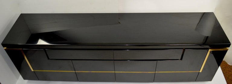 French Roche Bobois Black Lacquer Sideboard Bar Credenza, Jean Claude Mahey For Sale