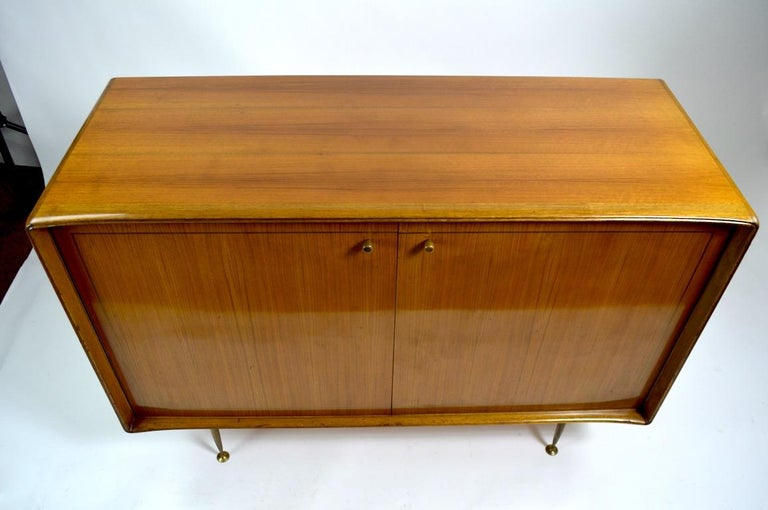 Brass Elegant Mid Century Two-Door Chifforobe Dresser after Ponti For Sale