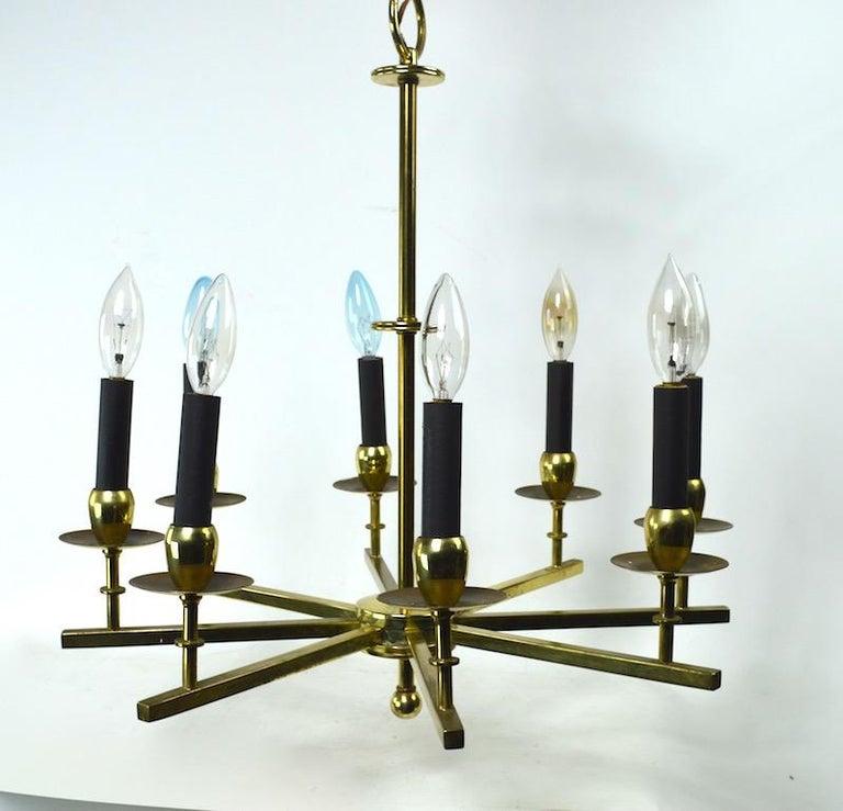 American Eight-Light Brass Spoke Chandelier For Sale