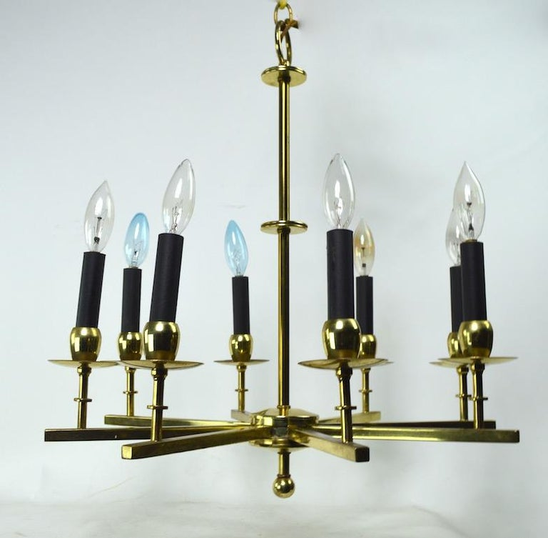 Eight-Light Brass Spoke Chandelier In Good Condition For Sale In New York, NY