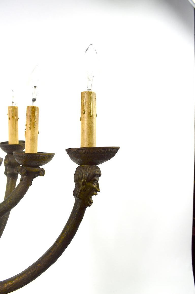 American Eight-Light Greco Roman Revival Arts & Crafts Chandelier For Sale