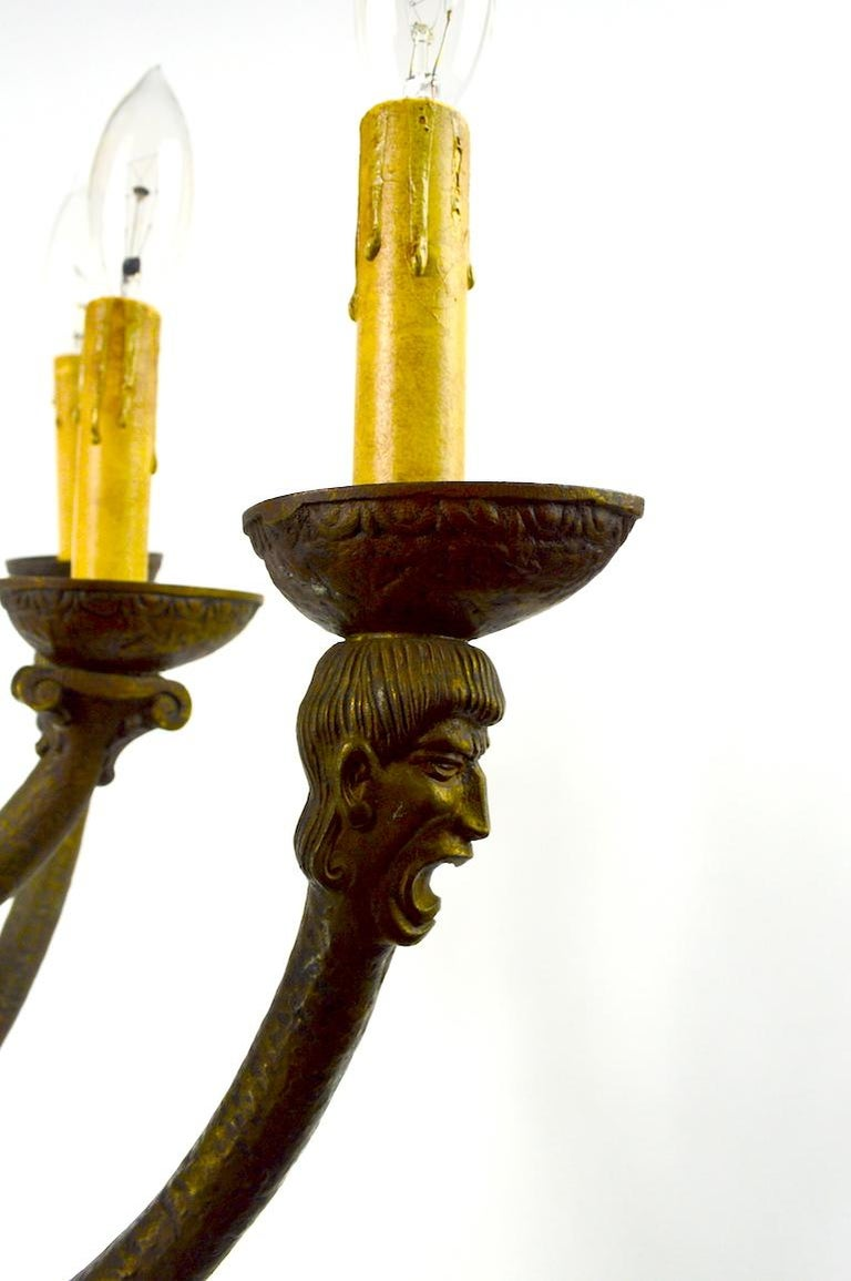 Eight-Light Greco Roman Revival Arts & Crafts Chandelier For Sale 2