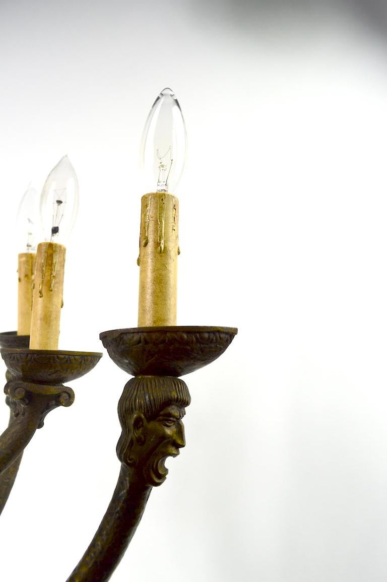 Eight-Light Greco Roman Revival Arts & Crafts Chandelier For Sale 3