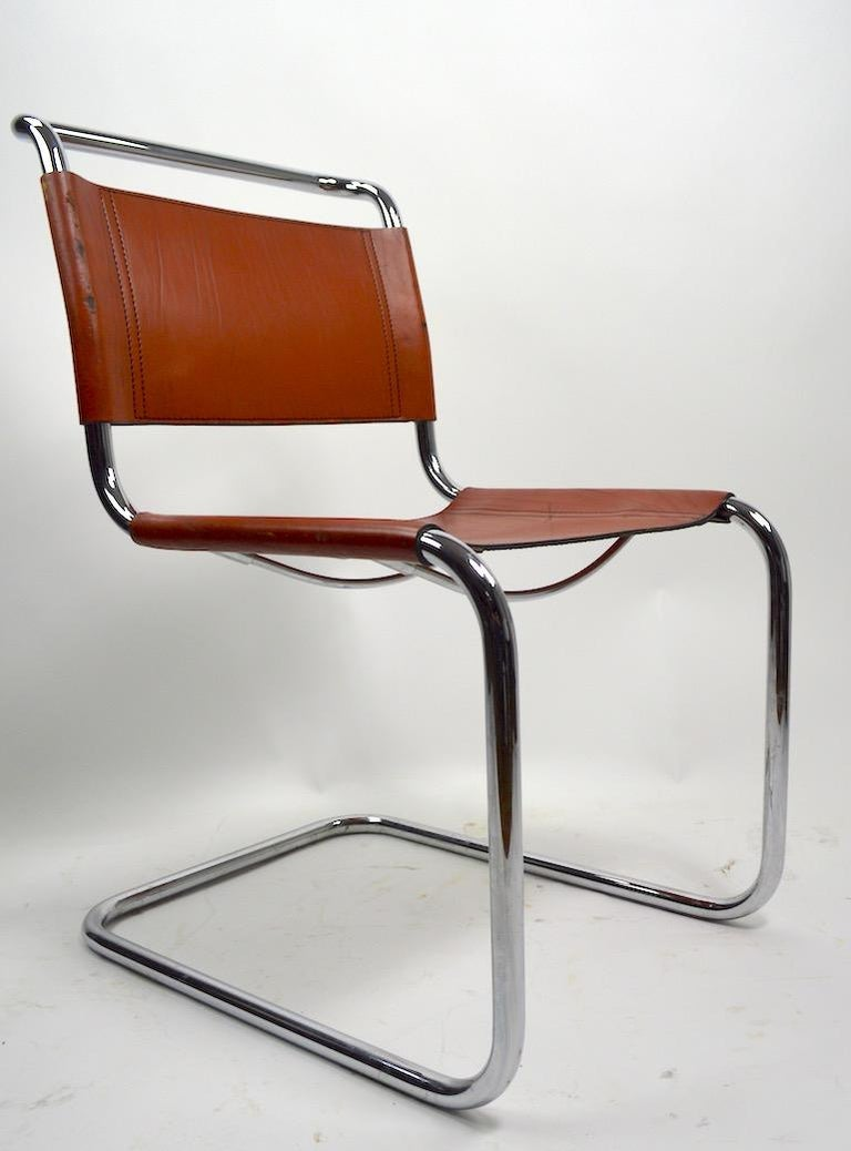 International Style Set of Six Spoleto Chairs Attributed to Knoll After Breuer For Sale