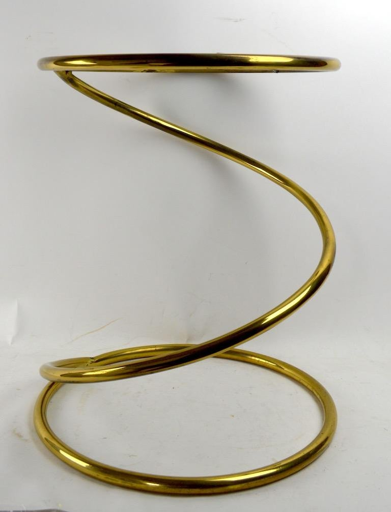 Mid-Century Modern Brass Coil Spring Table Attributed to Pace For Sale