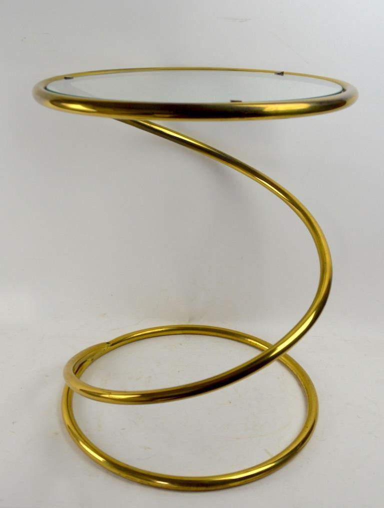 American Brass Coil Spring Table Attributed to Pace For Sale