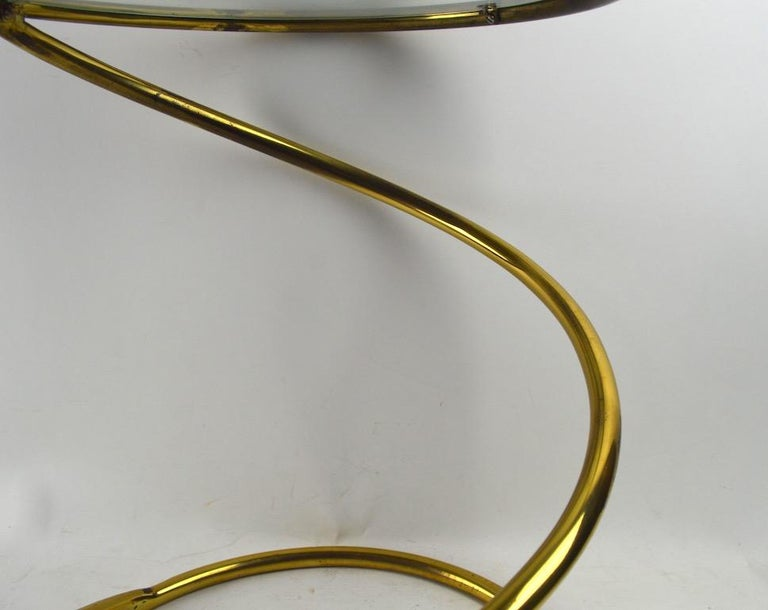 Brass Coil Spring Table Attributed to Pace For Sale 1
