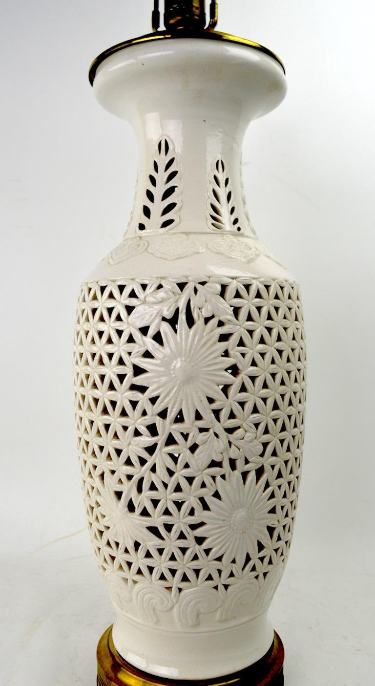 American Reticulated Blanc de Chine Table Lamp For Sale
