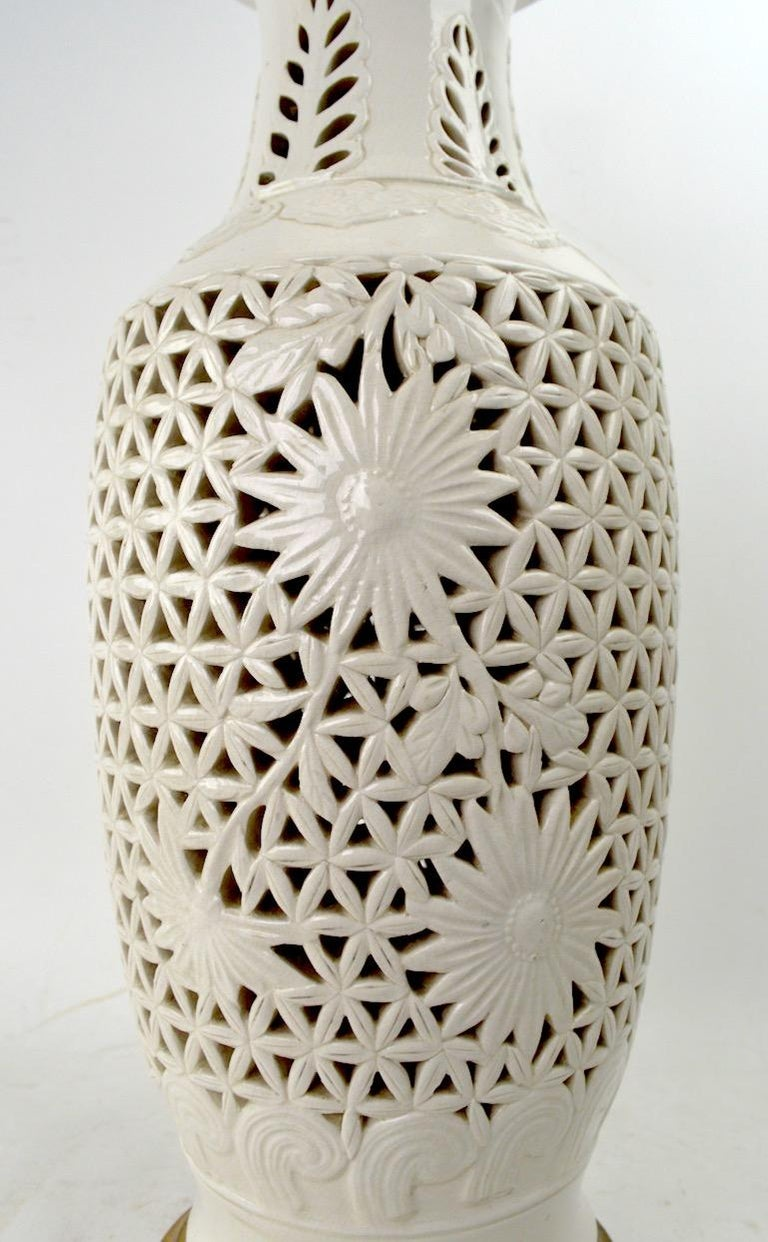 Reticulated Blanc de Chine Table Lamp In Excellent Condition For Sale In New York, NY