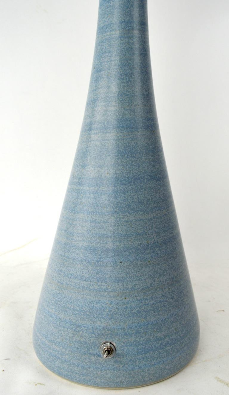 Mid-Century Modern Mod Ceramic Table Lamp with Plastic Ball Top Shade For Sale