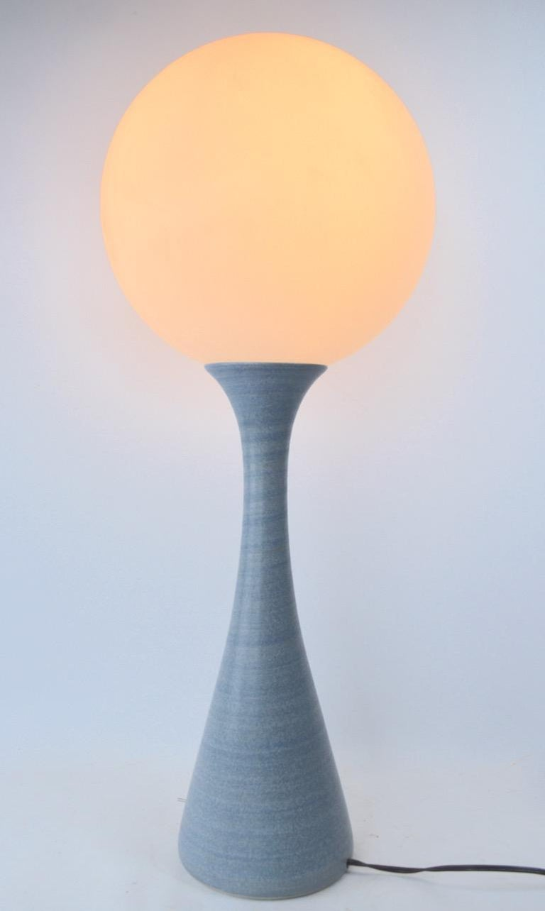 Mod Ceramic Table Lamp with Plastic Ball Top Shade For Sale 1