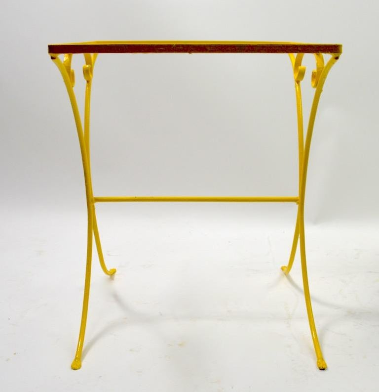 Mid-Century Modern Wrought Iron Patio Side Table Attributed to Salterini For Sale