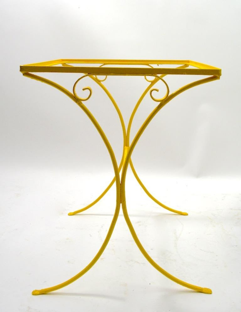 American Wrought Iron Patio Side Table Attributed to Salterini For Sale