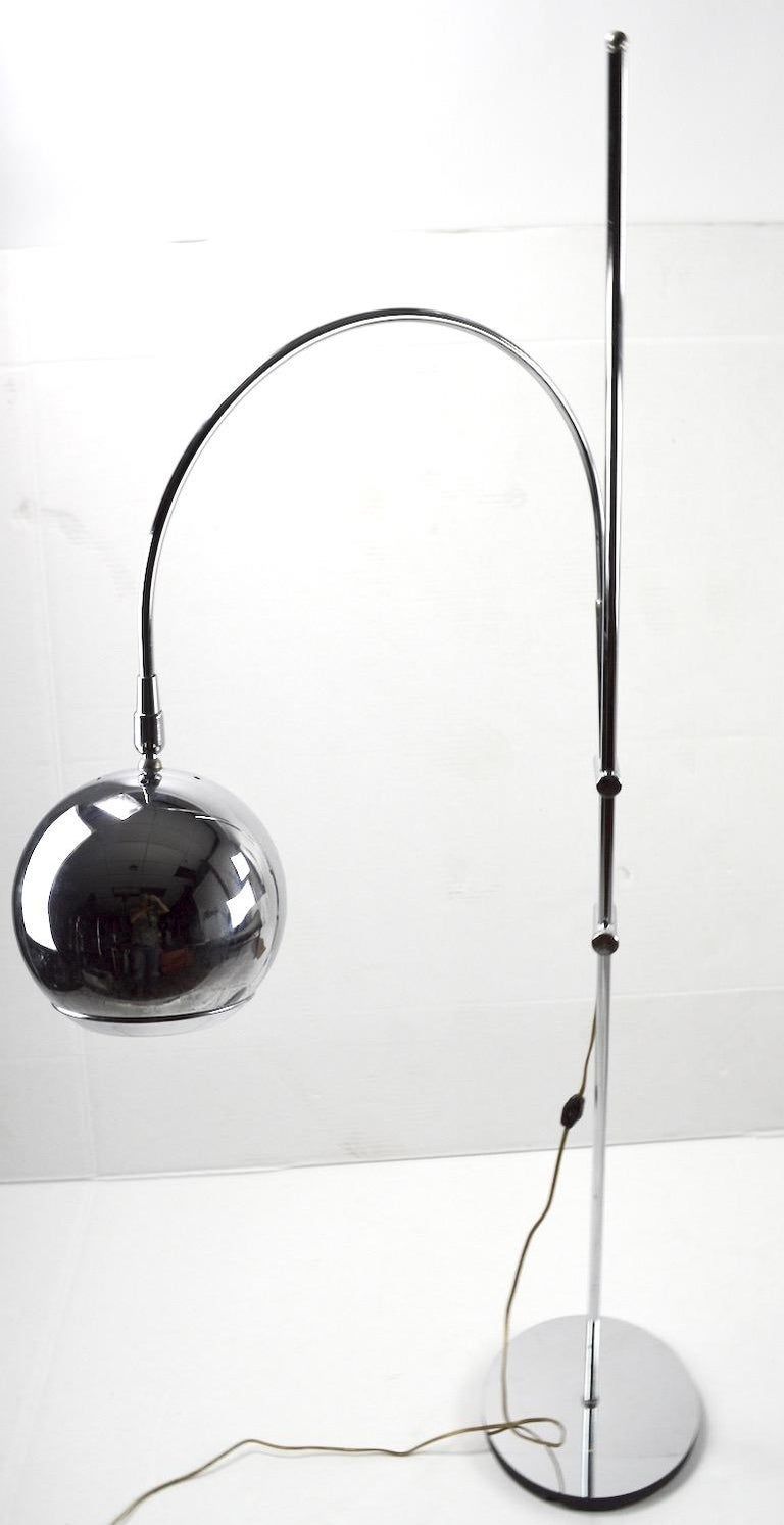 Adjustable Chrome Arc Lamp with Eyeball Shade For Sale 2