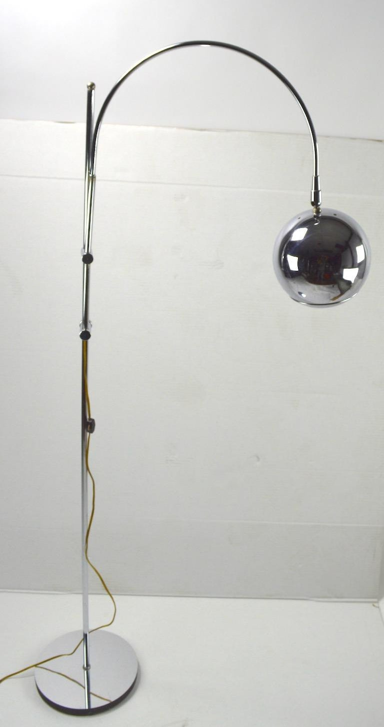 Adjustable Chrome Arc Lamp with Eyeball Shade For Sale 3