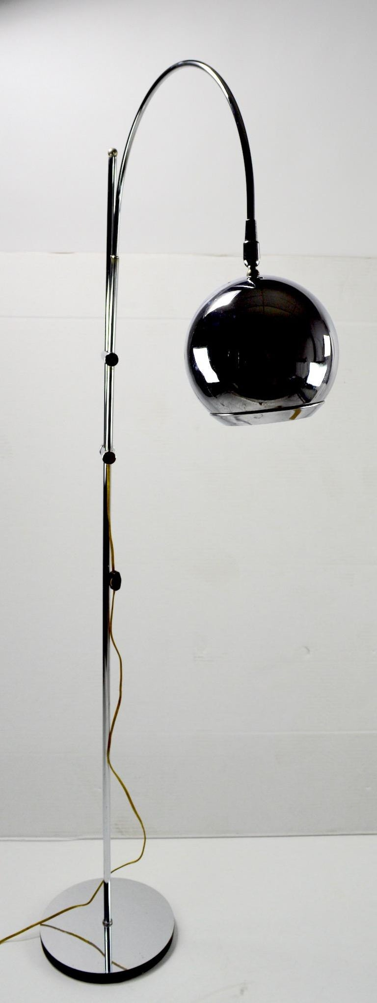 Adjustable Chrome Arc Lamp with Eyeball Shade For Sale 6